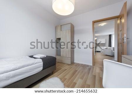Compact and modern sleeping room in scandinavian style - stock photo