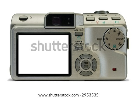 Compact digital camera, empty display, isolated on white background, clipping path
