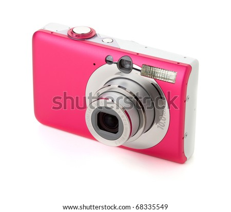 Compact digital camera. Isolated on white background - stock photo