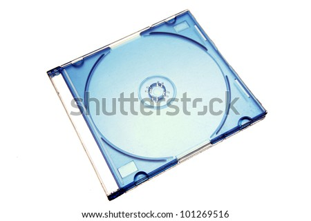 Compact disc case on plain background - stock photo