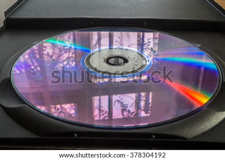 Compact disc close up on the table