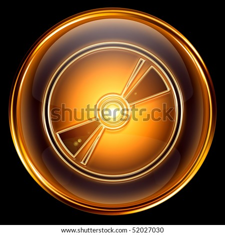 Compact Disc icon golden, isolated on black background - stock photo