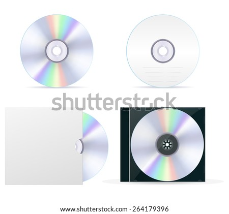 Compact disc set: cd, box, cover. Isolated on white background. Raster version