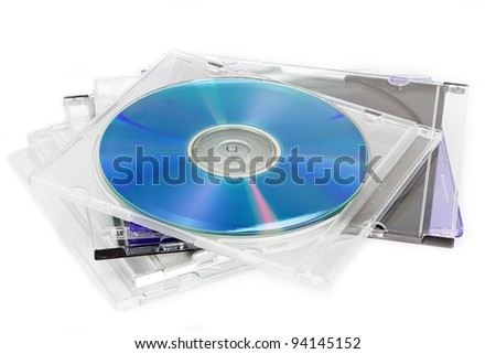 Compact Discs (CDs) stored in a plastic case - stock photo