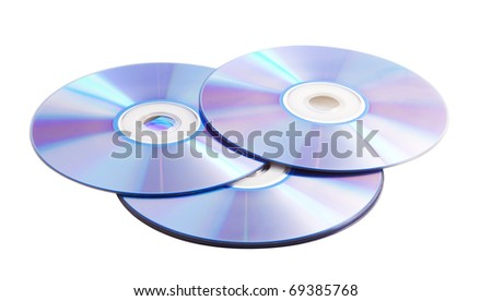 compact discs on a white background - stock photo