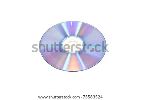 compact disk over white - stock photo