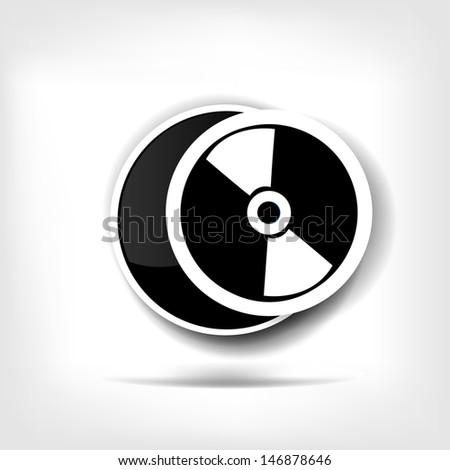 Compact disk web icon - stock photo