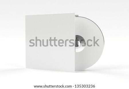 Compact disk with white cover 3d render - stock photo