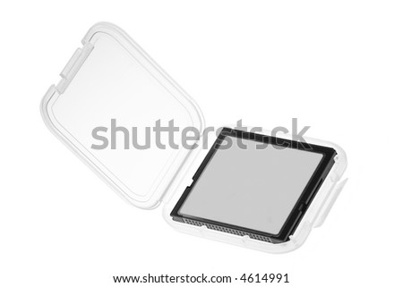 Compact Flash memory card in plastic casing isolated on white background - stock photo
