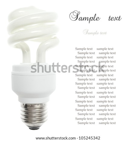 Compact Fluorescent Light bulb, isolated on the white background. - stock photo