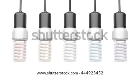 Compact fluorescent light bulbs with different color temperatures, 3D illustration - stock photo