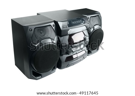 Compact stereo system cd and cassette player with radio isolated on white background - stock photo