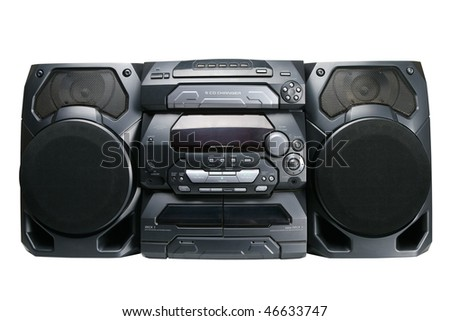 Compact stereo system cd and cassette player with radio isolated on white background clipping path - stock photo