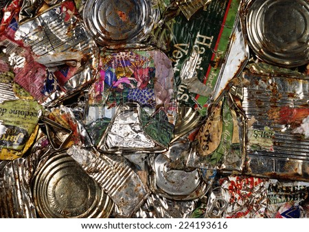 Compacted aluminum cans, close-up - stock photo