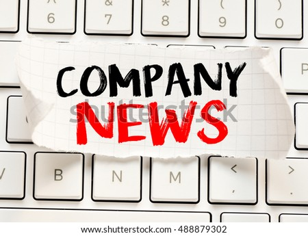 Company news./ Company news card with information on the keyboard