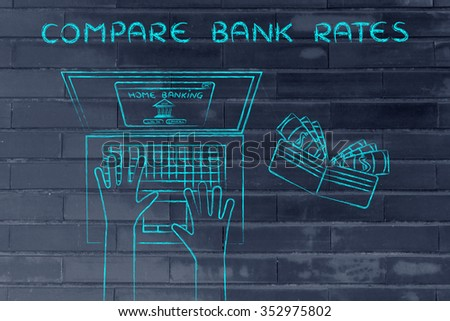 compare bank rates: user typing on his laptop, with wallet and stats on his desk - stock photo