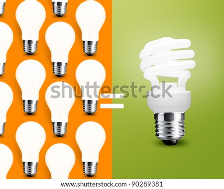 Comparison between two type of  bulbs, saving Light bulb and normal old Light bulb. - stock photo