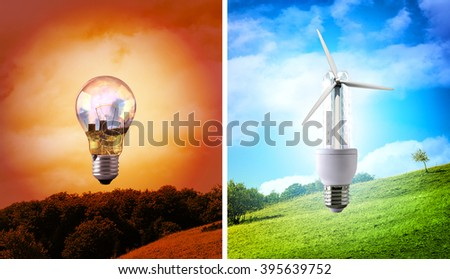 Comparison between various types of light bulb on landscape background. CO2 emissions and environmental conservation. Horizontal composition. Front view - stock photo