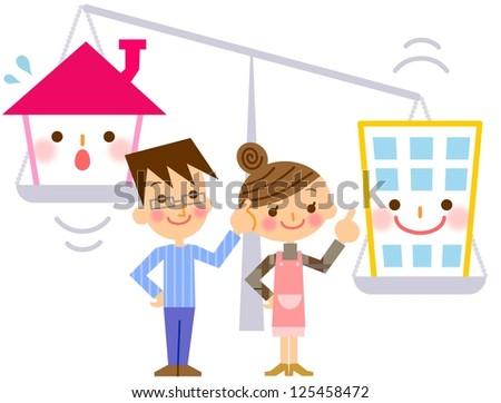 Comparison House - stock photo