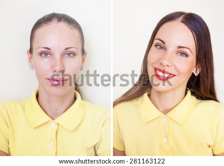 comparison of photos before and after makeup and hairstyling - stock photo