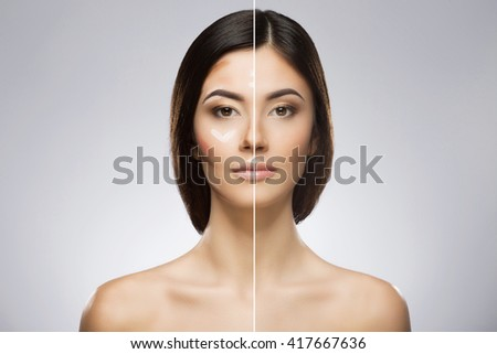 Comparison portrait of a model without and with professional contour and highlight face makeup. Divided face. Beauty portrait, head and shoulders, full face. Indoor, studio - stock photo