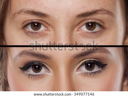 Comparison portrait of a woman without and with makeup - stock photo