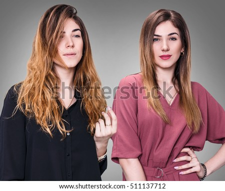 Comparison portrait of woman before and after makeup and hairstyling