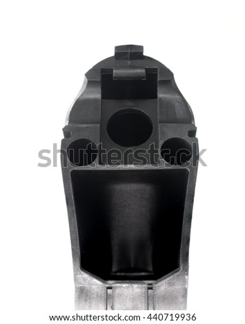 Compartment on the back of an AR 15 stock used to store batteries - stock photo