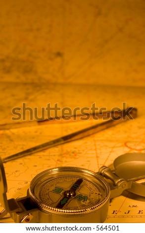 Compas, nautical map. Both navigational tools - stock photo