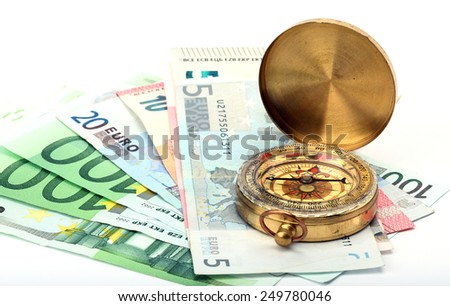 Compass and euro bills close up.  business background - stock photo