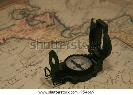 Compass and map - stock photo