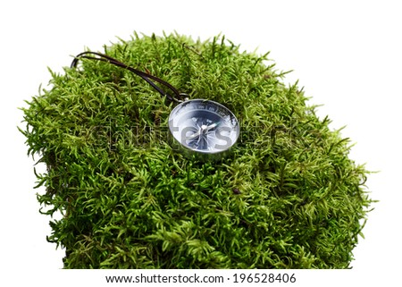 compass close-up in the woods on moss. isolated version - stock photo