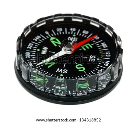compass close-up isolated on white background - stock photo