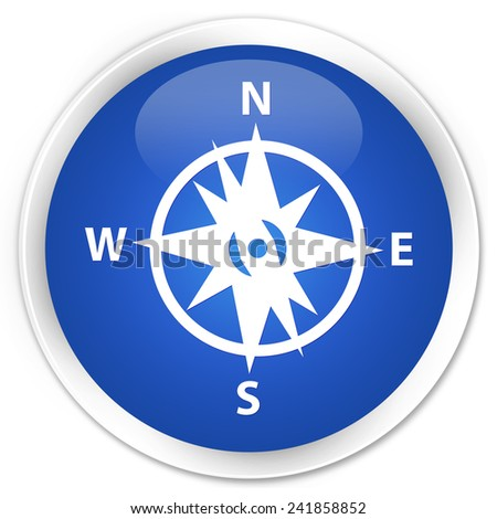 Compass icon blue glossy round button