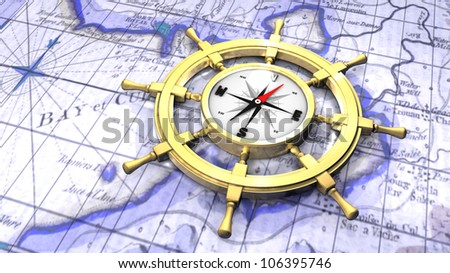 Compass in a ship's wheel over a map - stock photo