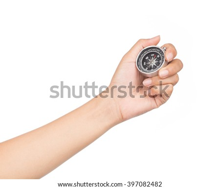 Compass in hand isolated on white background - stock photo