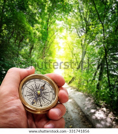 Compass in the hand against forest road - stock photo