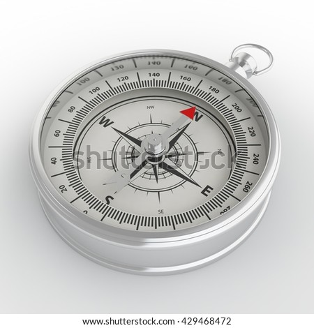 Compass isolated on white background with shadow. 3D illustration