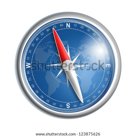 compass isolated on white realistic illustration - stock photo