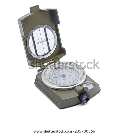 Compass isolation on white - stock photo