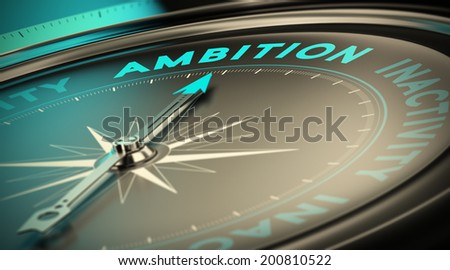 Compass needle pointing the word ambition over black background. Concept illustration of determination and having success  - stock photo
