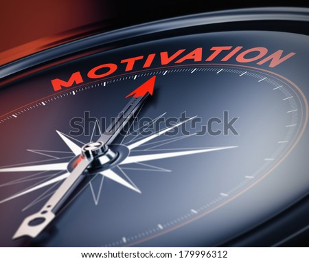 Compass needle pointing the word motivation. Concept image, illustration of motivational quotes. 3D render with blur effect. - stock photo