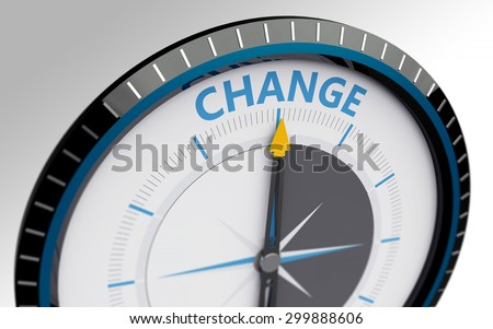 Compass needle pointing to the word change - stock photo