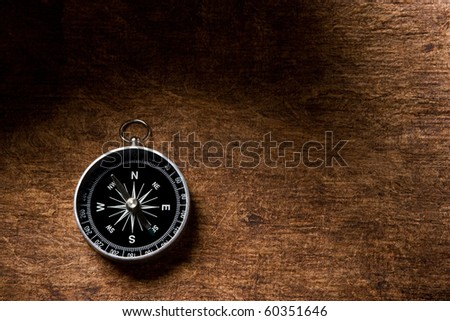 compass on a brown textured paper background
