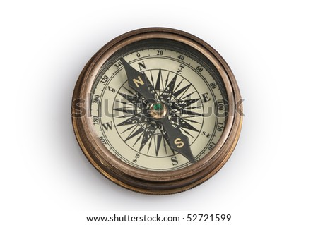Compass on a white background, containing clipping paths - stock photo