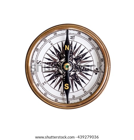 Compass on isolated white background with clipping path. - stock photo