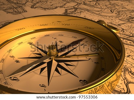 Compass on map  3D rendering - stock photo
