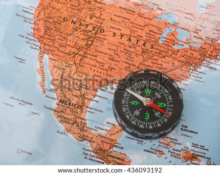 Compass on map : United State - stock photo