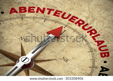 "Compass on vintage map pointing to the German word ""Abenteuerurlaub"" (adventure holiday) (3D Rendering)"