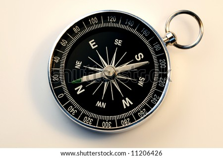 compass on white background, more compass pictures in my portfolio - stock photo